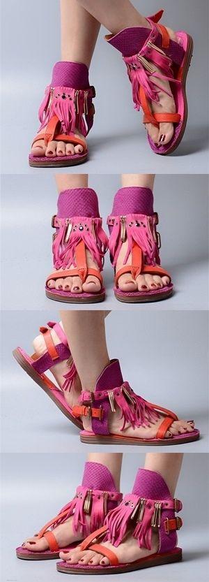 Women's Pink Designer Flat Gladiator Sandals