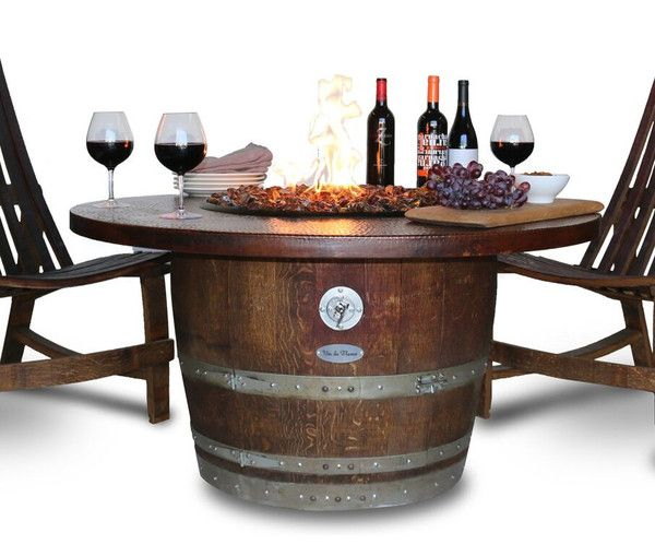Vin De Flame The Reserve Wine Barrel Fire Pit Table With