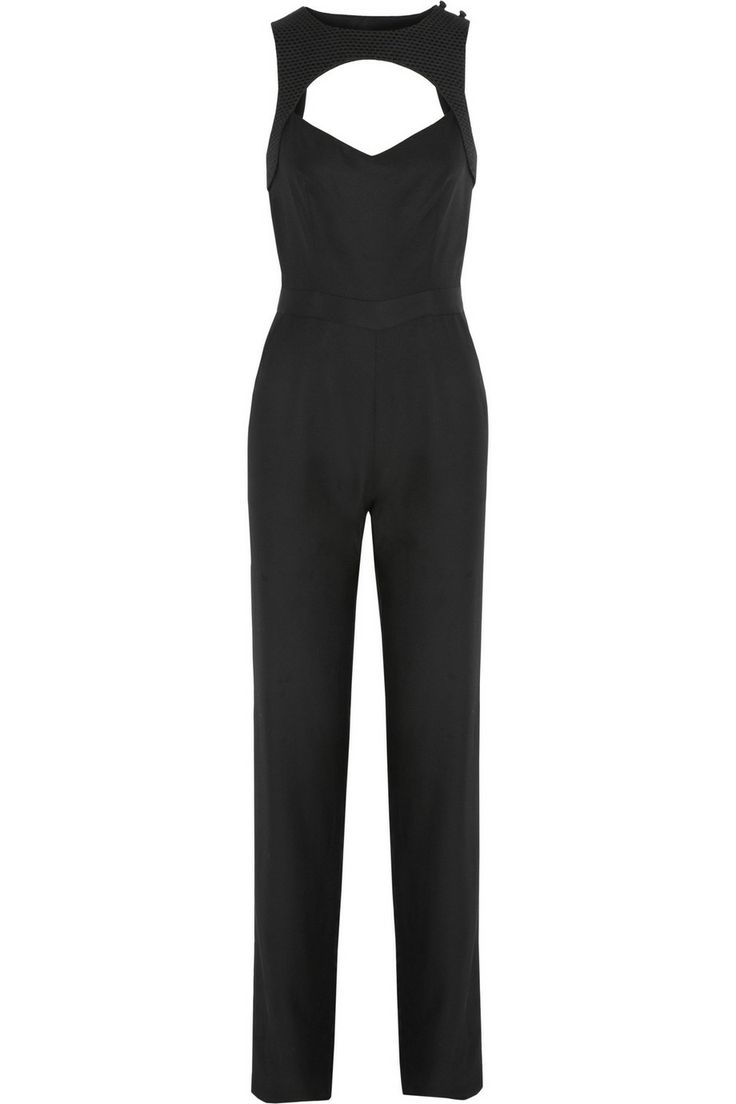 CAPITOL COUTURE BY TRISH SUMMERVILLE|Jacquard-trimmed twill jumpsuit|NET-A-PORTER.COM