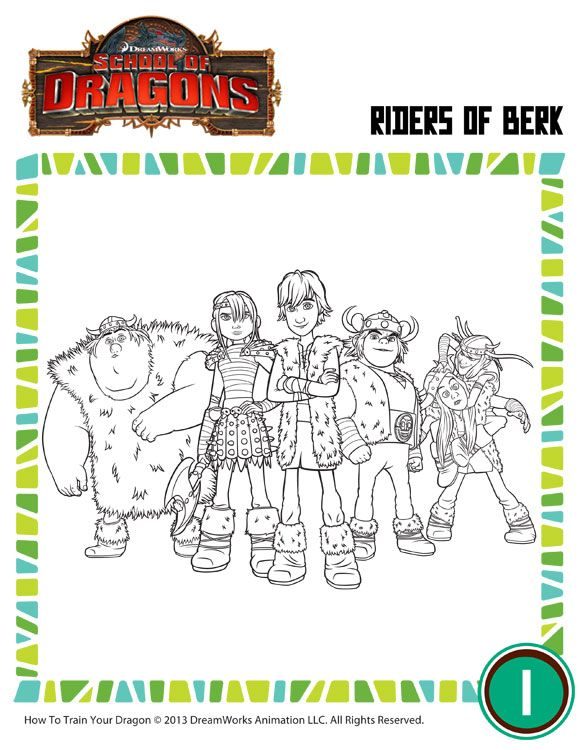 Riders of Berk - How to Train Your Dragon Coloring Pages for Kids - School of Dragons