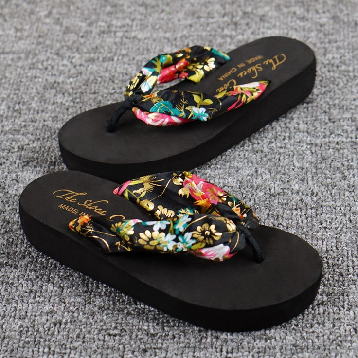 New Fashion Slippers Women Bohemia Silk Cloth Slip-Resistant Beach Casual Ladies Flip Flops Platform Shoes Sandals XHSA01