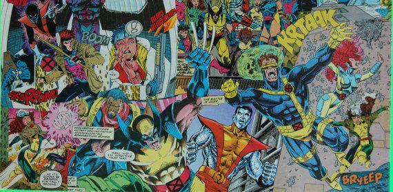 Xmen Comic Book Collage Art Decoupage by RedSwanDesignAndArts