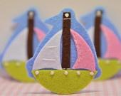 Set of 6pcs handmade felt boat
