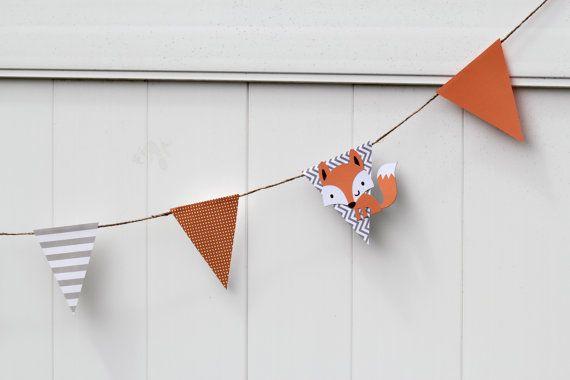 Fox Garland Baby Shower Birthday Room Decor by paperpatterns