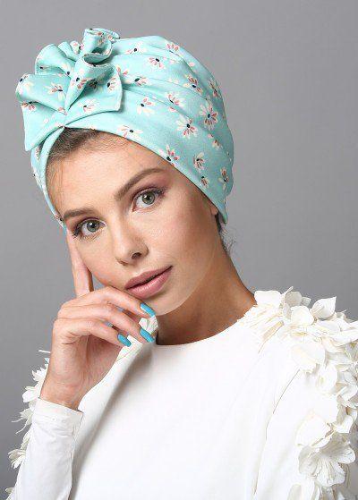 Fan Turban in Turquoise Print