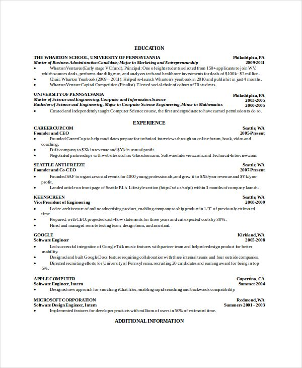 Free Resume Templates Computer Science Resume Templates Resume Template Free Computer Science