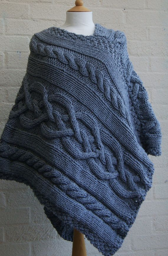 Chunky knit  Celtic Grey Poncho/ Women Poncho/ Knitted Poncho