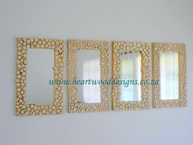 Our mirrors with Jacaranda slices.  Four in a row makes an elegant statement.
