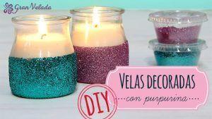 Hacer velas decoradas con purpurina