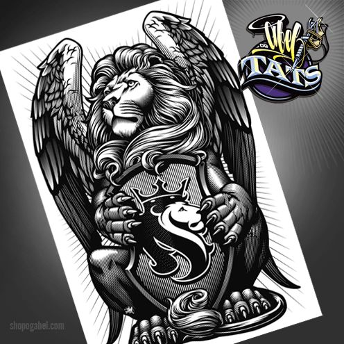 Winged lion tattoo - photo#42