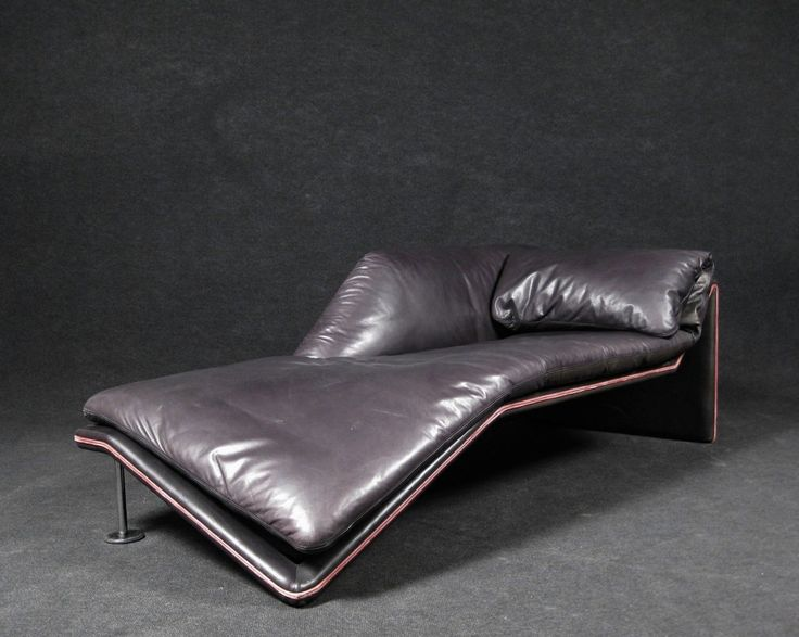 Slouchy Grey Leather With Pink Trim Optical Illusion Chaise DearabraJ  Flacke And Produced By Etienne Aigner Part 73