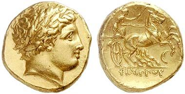 Gold stater of Philipp II, minted posthumously 336-328 in Amphipolis