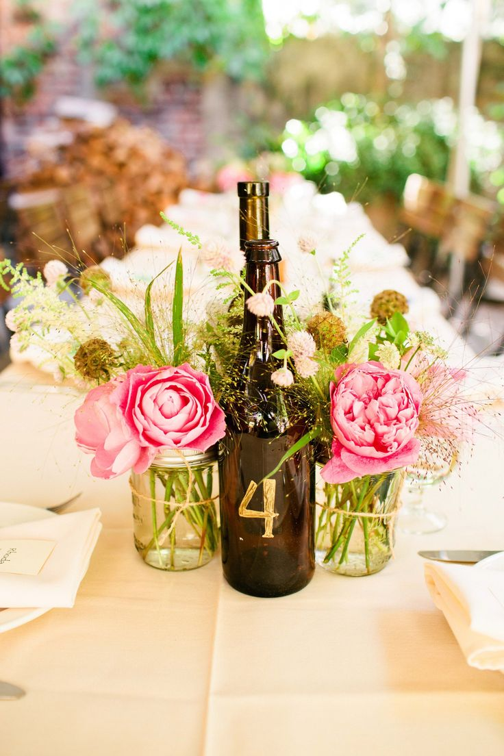 wine bottle decorations for weddings wine bottle and jar centerpieces wedding flowers 1430