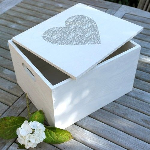 Personalised Heart Keepsake Box. Inside the greay heart you can have the names of a couple or a family. Lovely storage box for mementoes.