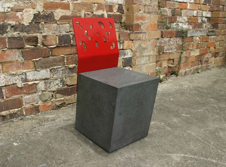 POPconcrete Boksi Stool with red backrest