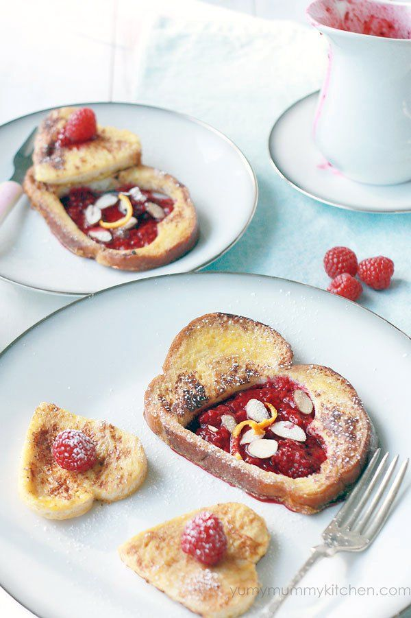 Valentine French Toast with Stewed Berries #healthy