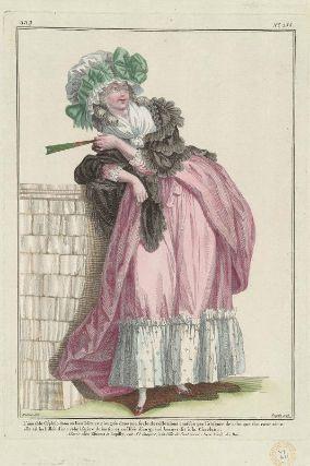 """""""L'aimable Céphise dans un lieu solitaire plongée dans une soule de réflexions causées par l'absence de celui que son coeur aime: elle est habillée d'une robe légère du matin et coëffée d'un grand bonnet dit à la Charlotte,"""" Gallerie des Modes, 1785; MFA 44.1621"""