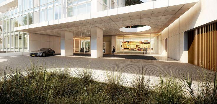 Richard Meier Designs Two-Tower Residential Development for Bogota,Entry Plaza. Image Courtesy of Richard Meier & Partners