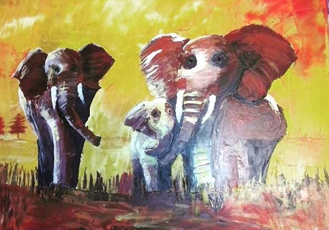 Check out my Etsy MoonlightFreya to purchase a print of my sunset safari oil painting original