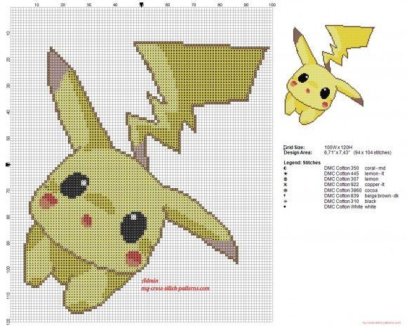 Pikachu pokémon esquema punto de cruz suave y dulce (click to view)