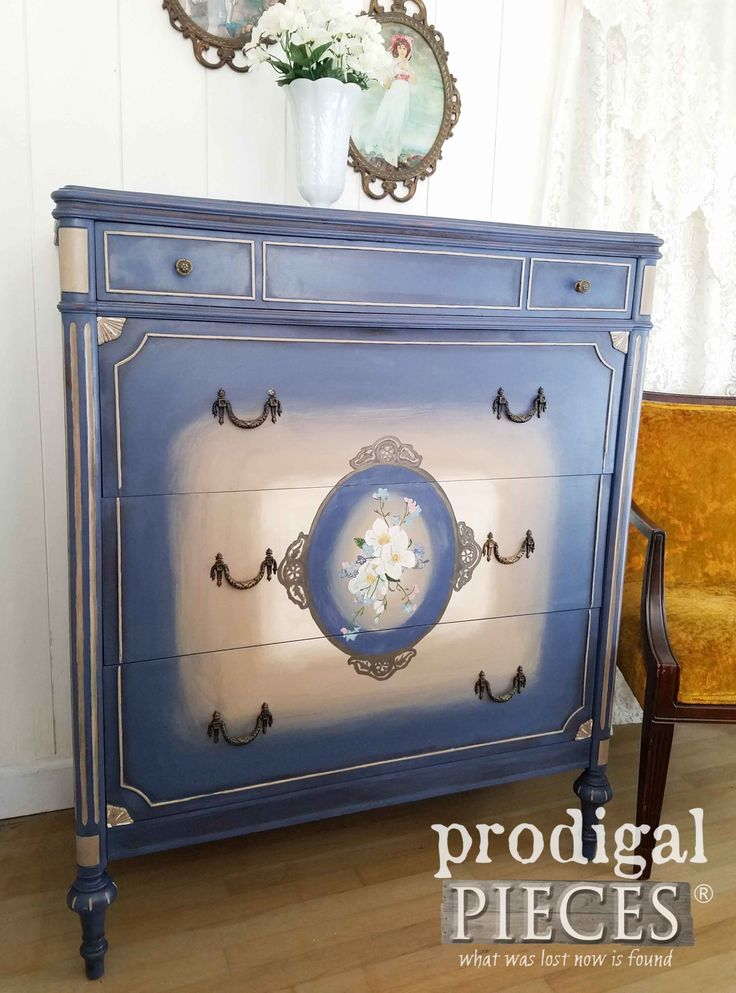 Beautiful Blue Painted Antique Chest of Drawers by Larissa of Prodigal Pieces   prodigalpieces.com #prodigalpieces #furniture