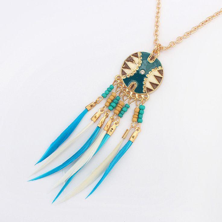 Модные Ожерелья для Женщин 2016 Богема старинные Золотые цепи бусы Перо…