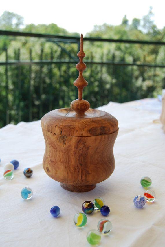 Portagioie in legno d'ulivo scrigno in legno di olivo