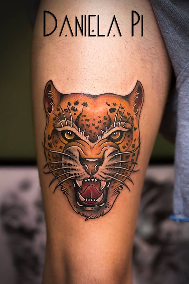 Leopard done by Daniela Pi ,@ Evil Machines Tattoo - Roma  #newtraditional