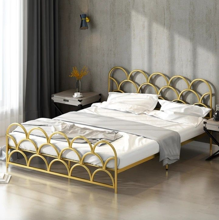 Victor Verace Gold Wave Bed Small Dbl 250 Gold Bed Frame Gold