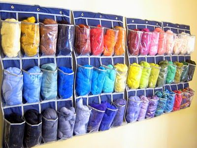 Great idea for organizing wool roving...