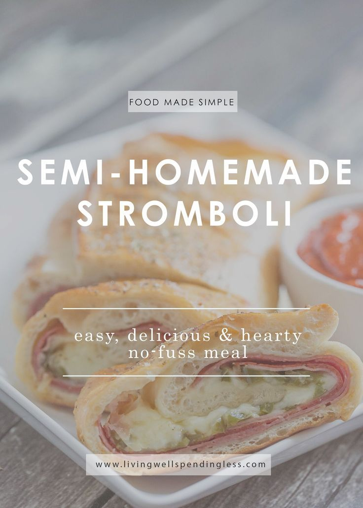 "Who says a homemade meal has to take all day?  This hearty semi-homemade stromboli is packed with flavor for a simple Italian meal the whole family will love, yet whips up in just minutes using ""cheater"" ingredients that shave hours off your cooking time."