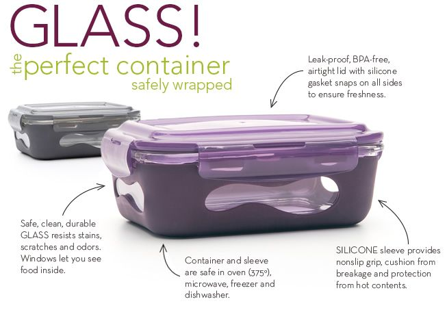 Glass, the perfect container- safe for lunches at school and work. Avoid chemicals and breakables