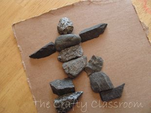 Inuksuk Craft. Flat stones to make a person's resemblance. Alaska, Arctic.