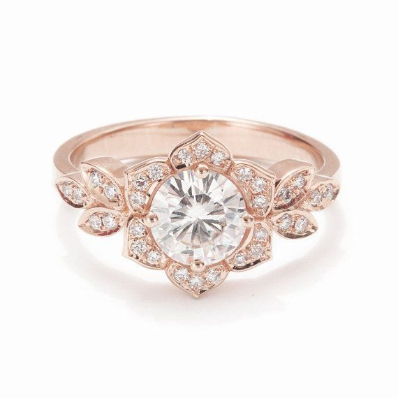 Unique Engagement Ring Vintage Lily Ring 14K by SillyShinyDiamonds