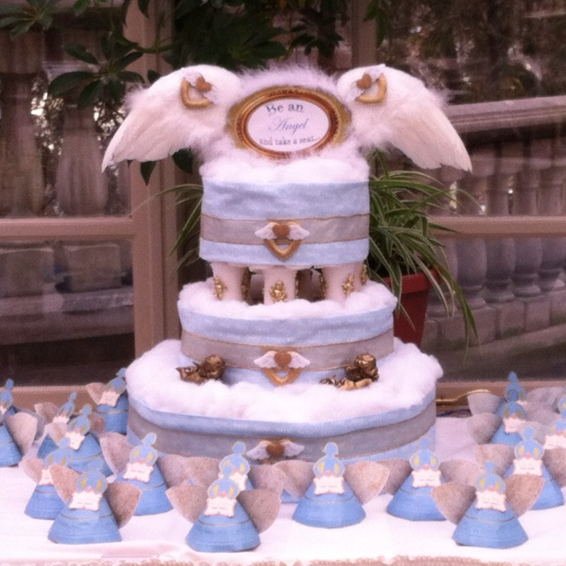 Heaven Sent Diaper Cake And Paper Plate Angel Seating
