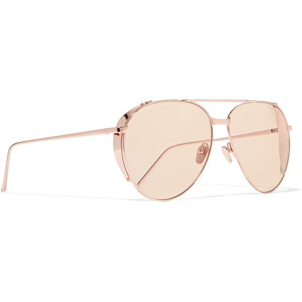Linda Farrow Aviator-style rose gold-plated sunglasses ($680) ❤ liked on Polyvore featuring accessories, eyewear, sunglasses, yellow sunglasses, yellow tinted sunglasses, vintage sunglasses, linda farrow sunglasses and vintage aviator sunglasses