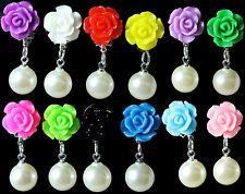 12mm Rose CLIP-ON Earrings with Dangle Cream Pearl Kids Childrens Girls Women