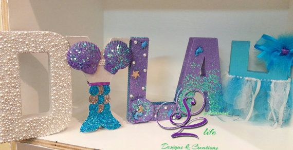 Sophisticated Life Designs presents a Classy Sea Girl Mermaid theme customized letters for a mermaid theme birthday party, girls birthday party