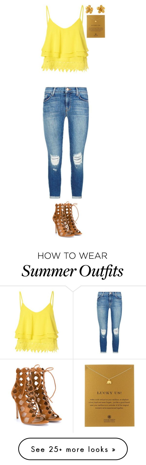 """Summer Outfit"" by sarahlong3019 on Polyvore featuring Glamorous, J Brand, Gianvito Rossi, Alex Monroe and Dogeared"