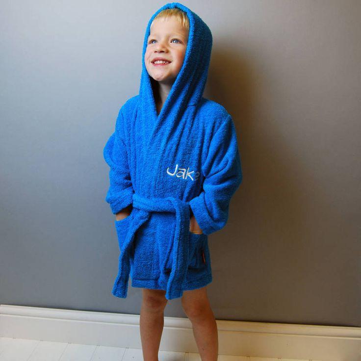 Child's Personalised Embroidered Bathrobe in Aqua blue