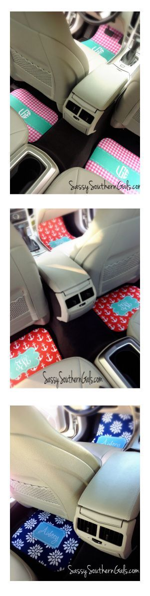 Monogrammed Car Mats Lots and lots of patterns to choose from! www.SassySouthernGals.com ~Monogrammed Gifts & Accessories~