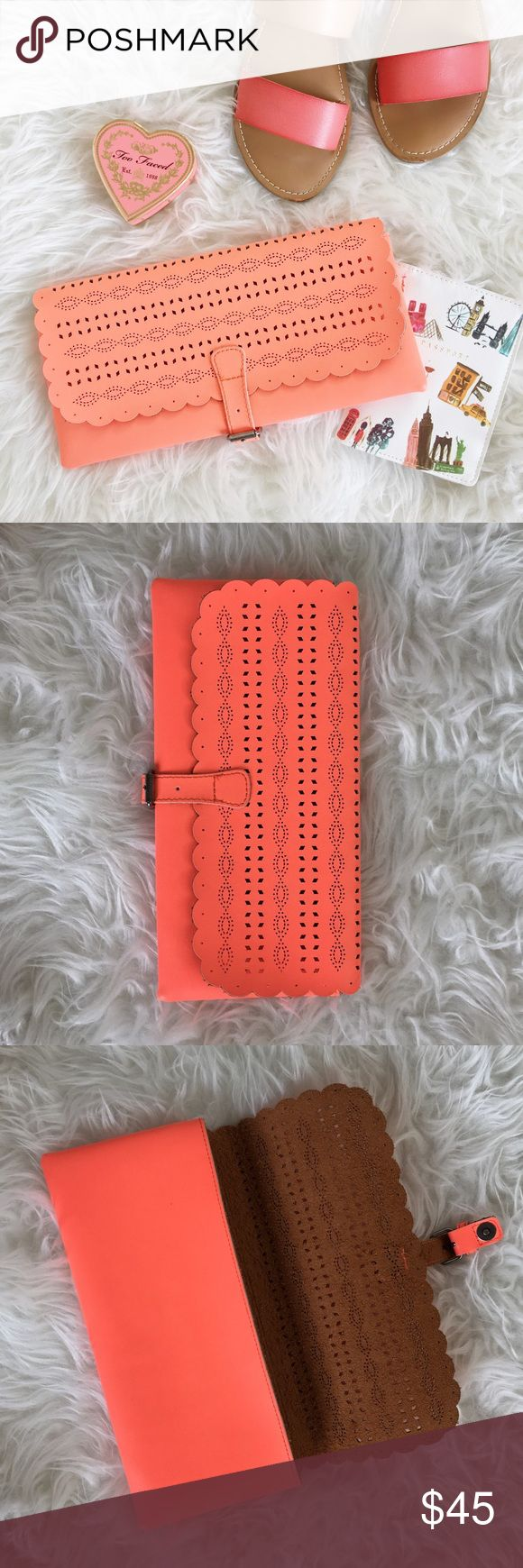 Selling this American Eagle Neon Coral Lazer Cutout Clutch on Poshmark! My username is: karendaugherty. #shopmycloset #poshmark #fashion #shopping #style #forsale #American Eagle Outfitters #Handbags