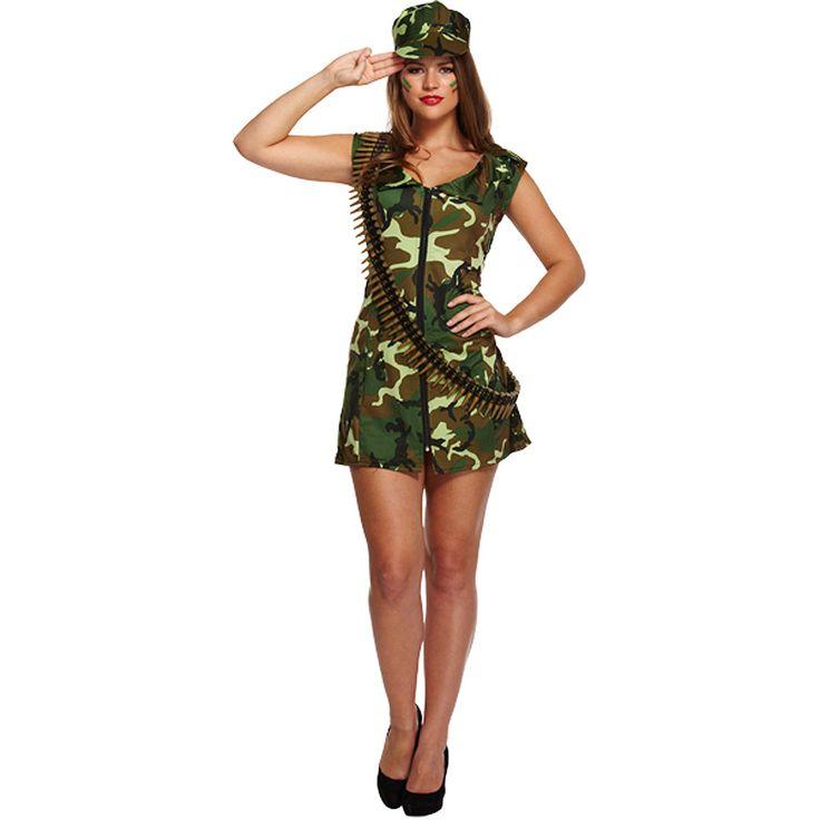 Sexy Army Girl Fancy Dress Costume (Camo)