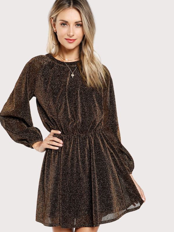 98c22be1d6 SHEIN Bishop Sleeve Transparent Dress Color  Brown Style  Elegant Material   100% Polyester Neckline  Round Neck Sleeve Length  Long Sleeve Silhouette   Shift ...