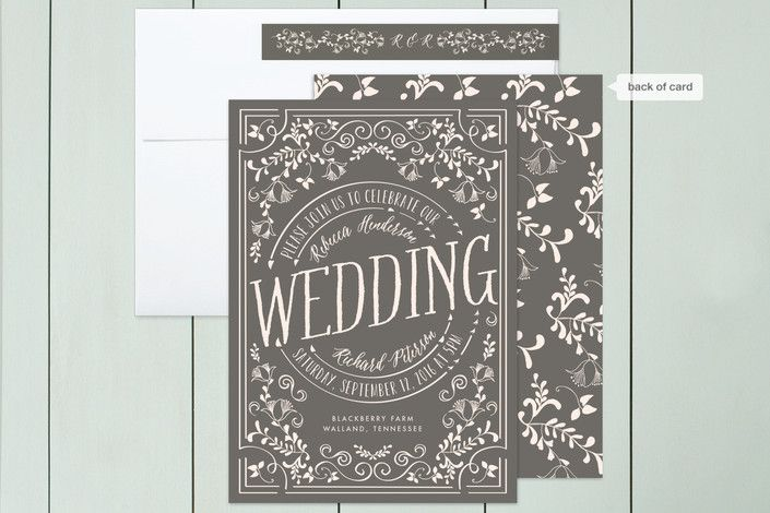 """""""Let's Get Married"""" - Floral & Botanical, Vintage Wedding Invitations in Noir by Chris Griffith."""