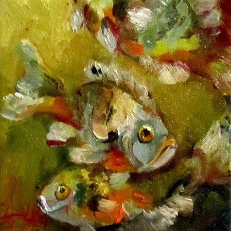 Gills,fish painting in oils, painting by artist Delilah Smith