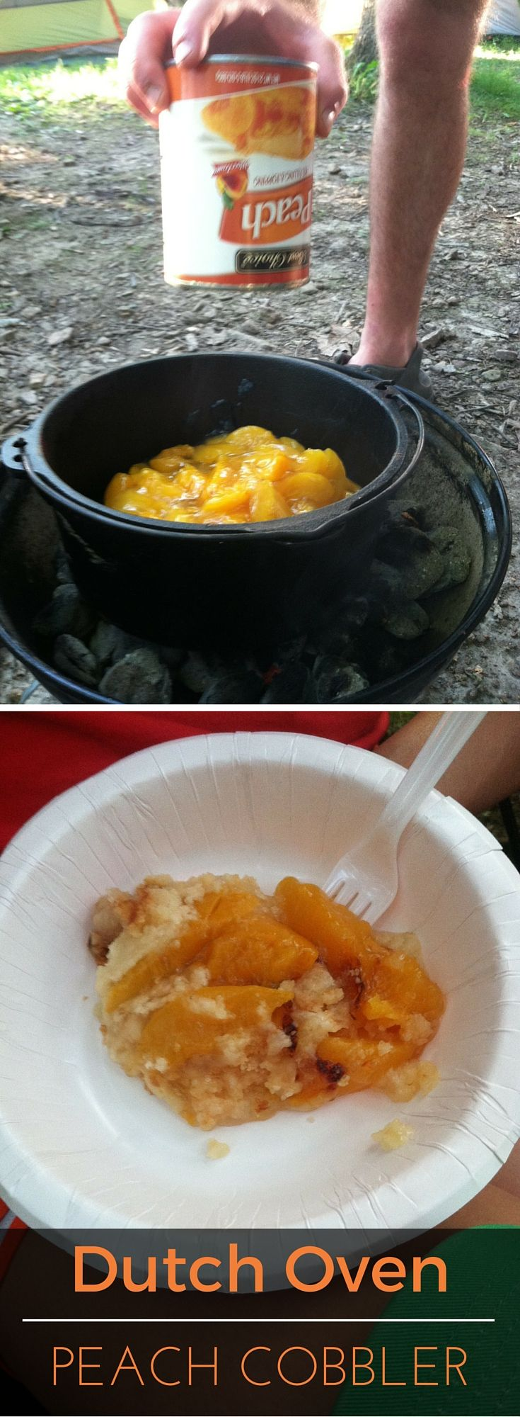 Dutch Oven Peach Cobbler - a fantastic camping recipe that only takes 3 ingredients!   Best Choice Brand.