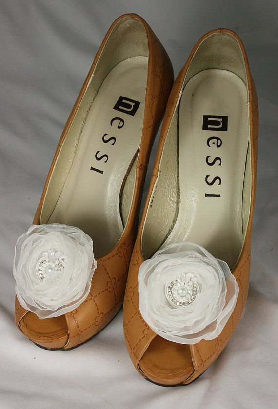 Wedding  Shoe Clips  White Rose Shoe Clips White by SoutacheOOAK