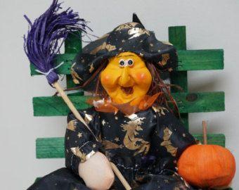 Halloween al lupo straccio cucina strega bambola sul banco Vintage retrò da collezione Home bambini ragazza regalo fatti a mano con la zucca fortunato scopa
