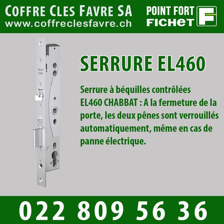 Serrure EL460 CHABBAT Serrure à béquilles contrôlées EL460 CHABBAT : A la fermeture de la porte, les deux pênes sont verrouillés automatiquement, même en cas de panne électrique. #serrure #Pointfortfichet #Geneve #securite